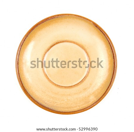 Empty clay plate isolated on white - stock photo