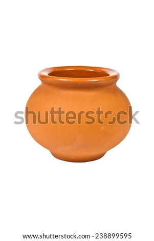Empty clay pot on a white background - stock photo