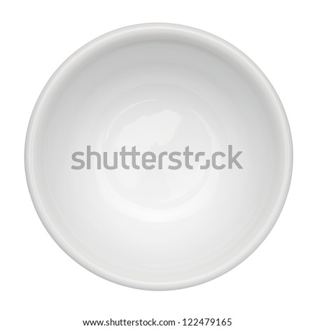 Empty clean bowl isolated on white background, top view - stock photo