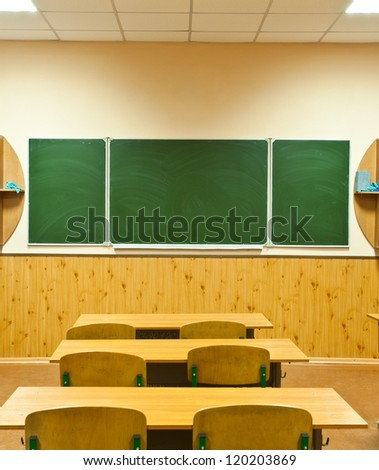 empty clean school room for employments - stock photo