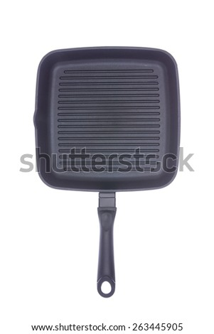 Empty clean square teflon coated grill pan or griddle isolated on white viewed from overhead - stock photo
