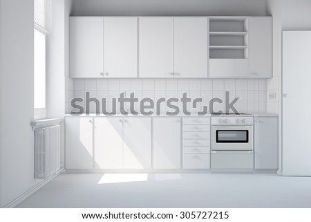 Empty clean white kitchen with new kitchenette (3D Rendering) - stock photo