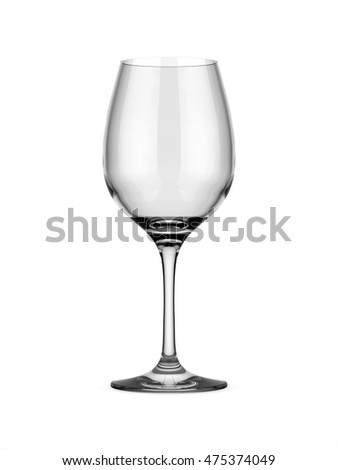empty clean wine glass against white background, 3D illustration