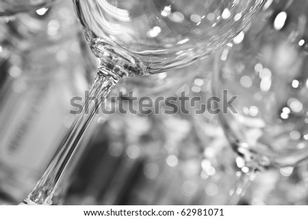 empty clean wine glasses in black and white - stock photo