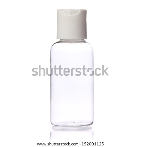 Empty Clear Bottle isolated on white background. Cosmetic. Spa - stock photo