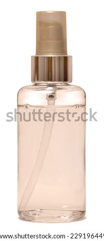 empty clear glass bottle for cosmetics on white background - stock photo