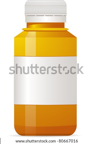Empty clear plastic pill bottle with sealed cap and lid