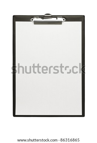 Empty clipboard isolated on white with copy space - stock photo