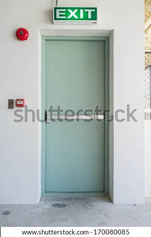 empty closed emergency exit door - stock photo
