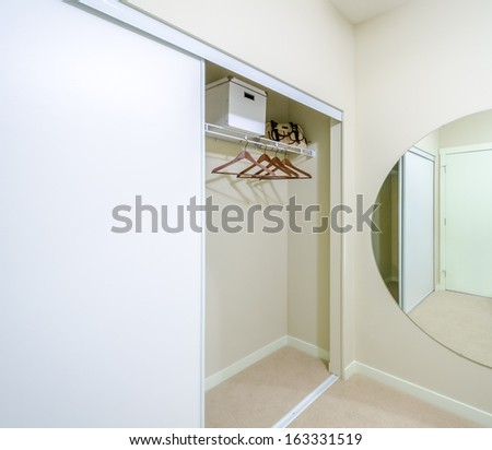 Empty Closet, Working Closet, Cupboard In Bedroom.