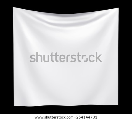 Empty cloth banner. isolated on black background - stock photo