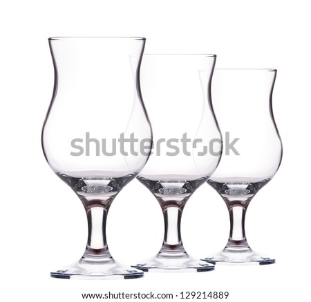 Empty cocktail glass on a white background