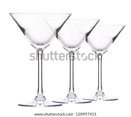 Empty cocktail glass on white - stock photo