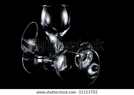 empty cocktail glasses - stock photo