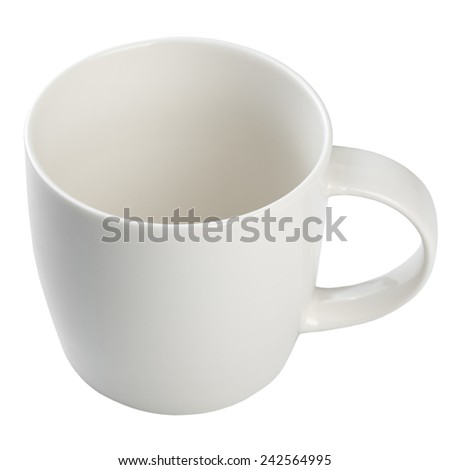 Empty coffee cup isolated on white background.