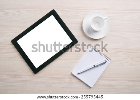 Empty coffee cup, notebook, pen, digital tablet pc with blank screen on wood table background.  - stock photo