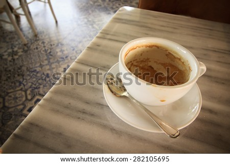 Empty coffee cup on table
