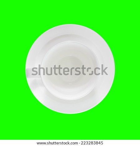Empty coffee cup, top view. Green screen - stock photo