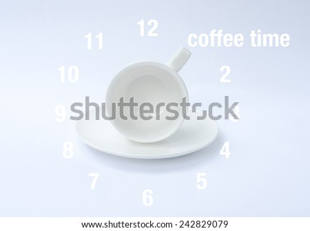 empty coffee cup with clock face on white background  - stock photo