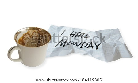 Empty coffee cup with paper  isolated  on white background - stock photo