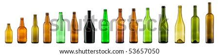 empty color bottles collection, isolated - stock photo