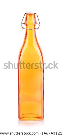 Empty color glass bottle, isolated on white - stock photo