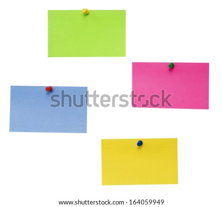 empty color papers isolated over white background