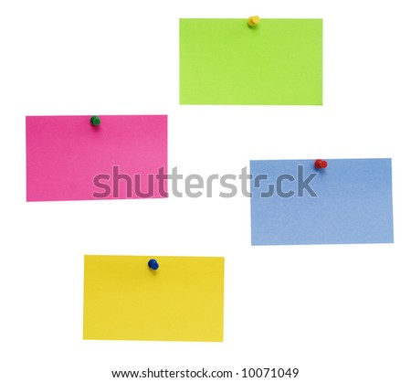 empty color post-it isolated over white background