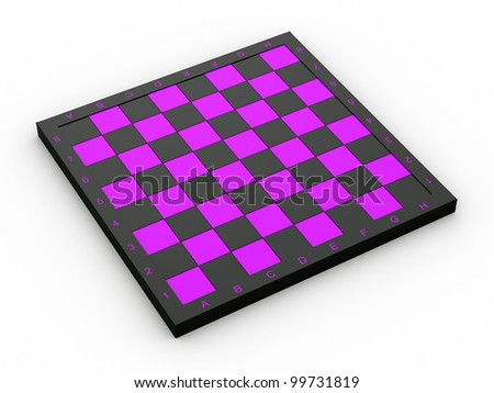 Empty colorful chess board over white background