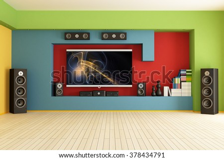 empty colorful living room with home theater  system,the image on screen is a my composition - 3D Rendering - stock photo