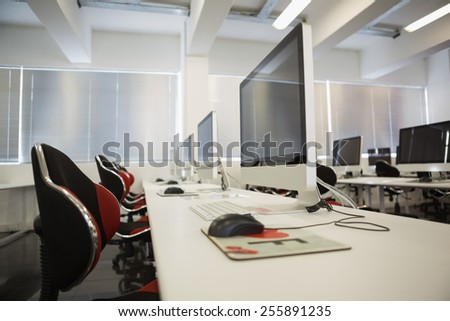 Empty computer room in college