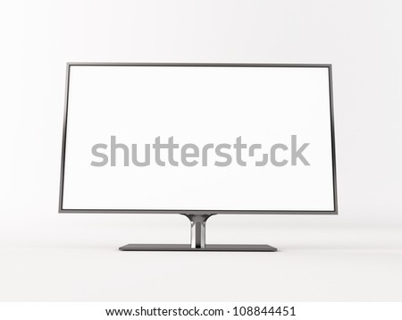 Empty computer screen on white - stock photo