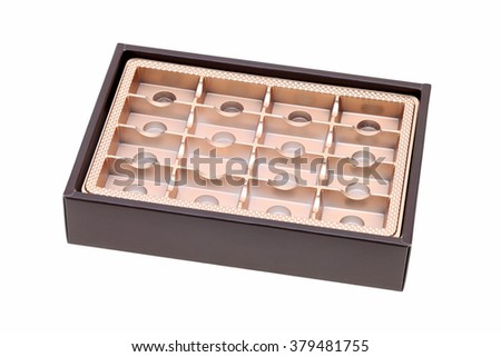 Empty confectionery box on isolated white background