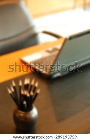 empty conference room before meeting, Blurred background - stock photo