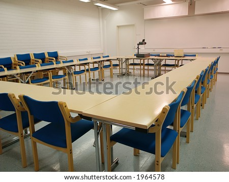 Empty conference room layout one, view - stock photo
