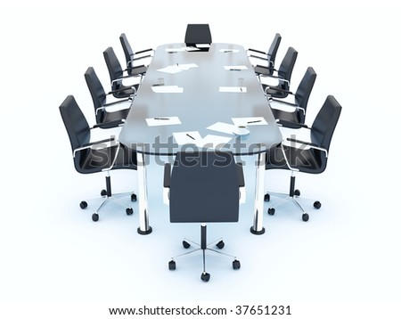 Empty conference table isolated on white - stock photo