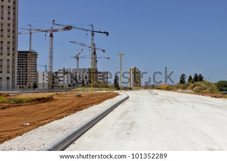 empty construction site on a sunny afternoon - stock photo