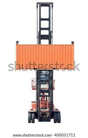 Empty Container Handlers isolated on white background with clipping path - stock photo