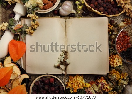 Empty cookbook, dried fruits, dry flowers and seasoning - stock photo