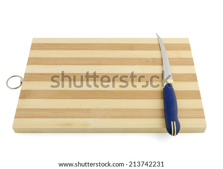 empty cooking board with knife isolated on white background