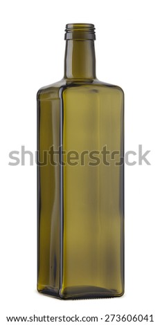 Empty cooking oil glass bottle isolated on the white - stock photo