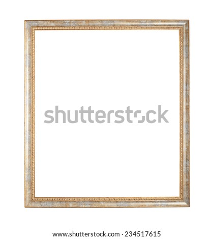 Empty copyspace wooden picture frame isolated over the white background - stock photo