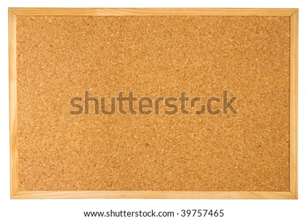 Empty cork board (corkboard) isolated on white background - stock photo