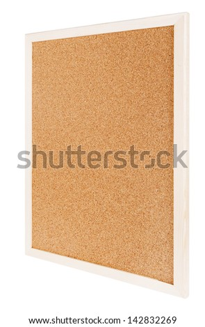 Empty cork board isolated on white