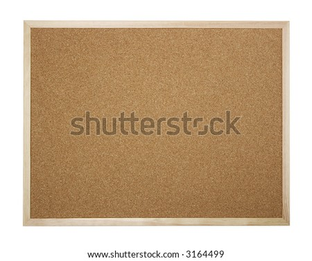 Empty cork board isolated on white - insert your own message or bulletin with thumbtacks
