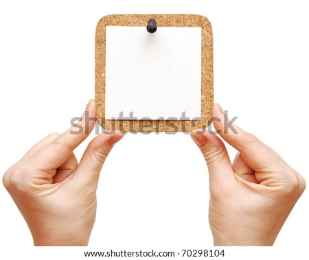 Empty cork in the hand isolated white background - stock photo