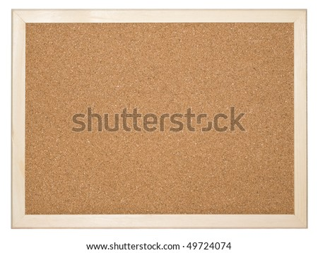 Empty cork memo board background isolated on white