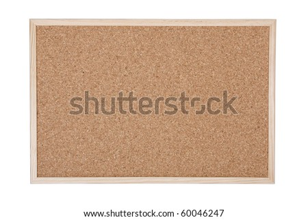 Empty cork memo board isolated on white background - stock photo