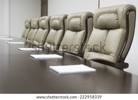 Empty corporate conference room before business meeting in office - stock photo