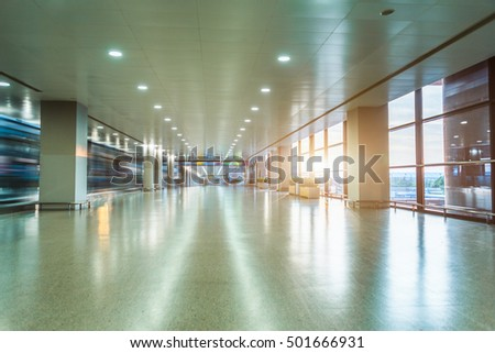 Empty Corridor Of modern airport in Shanghai,China.